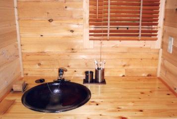 ログハウス,洗面台